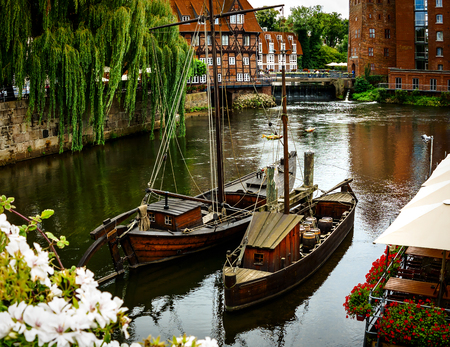 middle ages boat: The Old Port in historical Lueneburg, Germany Stock Photo