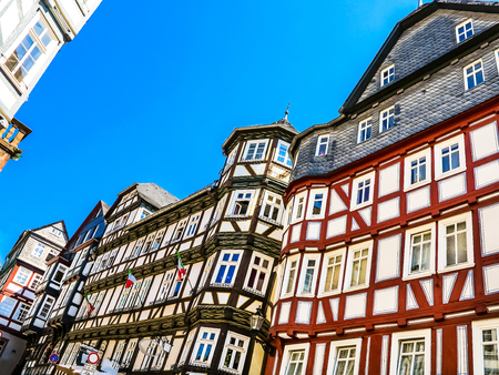half timbered house: A row Half-timbered houses on the market square in Marburg, Germany