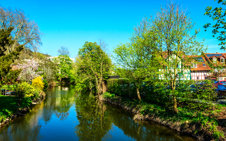 geographic: Spring on the banks of River Kinzig in Gelnhausen, the geographic center of the European Union in 2010, Germany Stock Photo