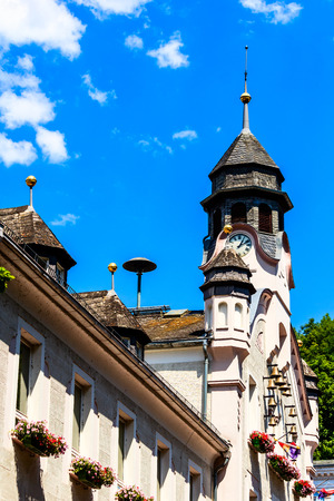 ems: Old Town Hall with chimes in Bad Ems on the Lahn, Germany Stock Photo