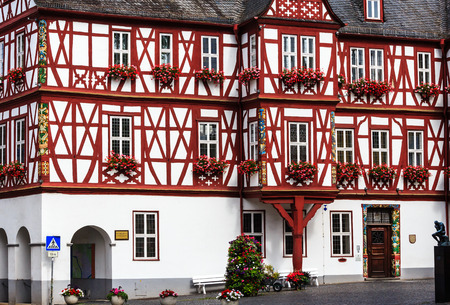 half timbered house: Nassau, the Town Hall on the market square, built in 1607-1609, Germany