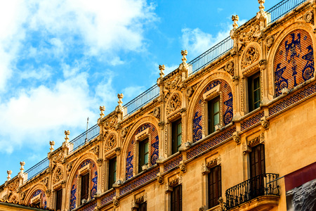 frontage: Artfully designed house frontage at marketplace in Palma de Mallorca Stock Photo