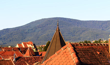 des vins: Red roof tops of Obernai front Odilia Mountain, Alsace France