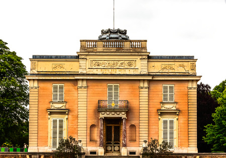 The Chateau de Bagatelle is a small neoclassical chateau with a French landscape garden in the Bois de Boulogne in the 16th arrondissement of Paris. Front entrance.