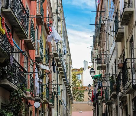 bairro: Typical narrow road in the old town (Bairro Alto) in Lisbon, Portugal
