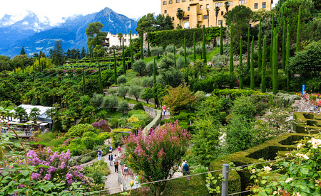 meran: MERAN, TYROL-August 17, 2015: Famous Gardens of the Trauttmannsdorf Castle in Merano, South Tyrol