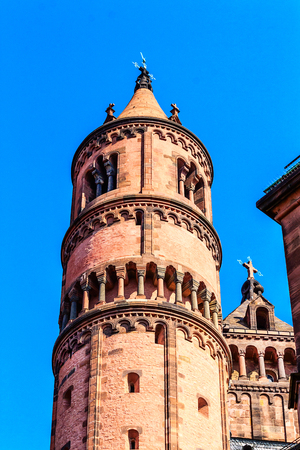 st  peter: Church Tower of the Imperial Cathedral of St. Peter in Worms, landmark for the city for over 1000 years, Germany