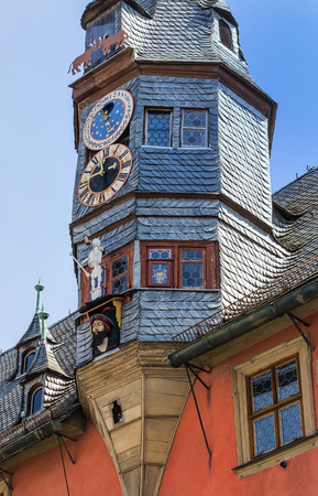 turrets: The New Town Hall (1497) with astronomical clock and lance turrets (1505) in Ochsenfurt near Wuerzburg, Germany