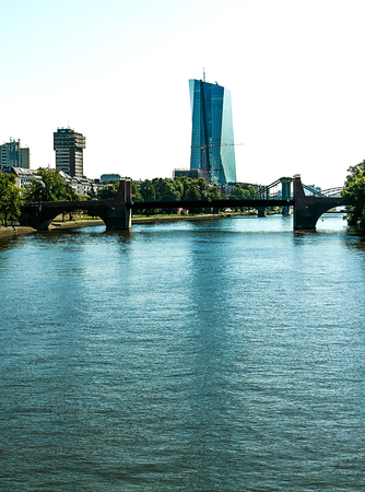 ecb: Frankfurt- Main River with the European Central Bank (ECB) silhouette in the background Stock Photo
