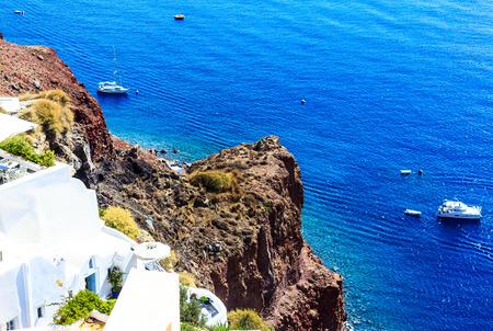greek islands: Deep blue Aegean Sea in Santorini (Oia), Greek Islands