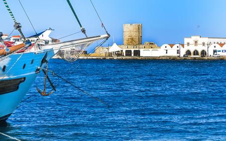 Beautiful historical Mandraki Harbour on the Iceland of Rhodes, Greece Stock Photo
