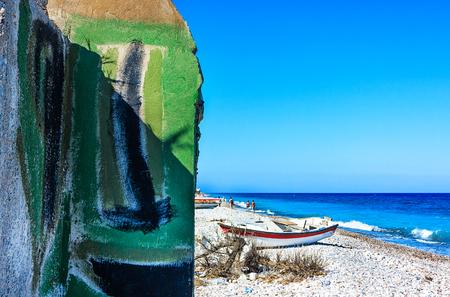 world war ii: Relict of World War II bunker on the beach of Rhodes Iceland, Greece