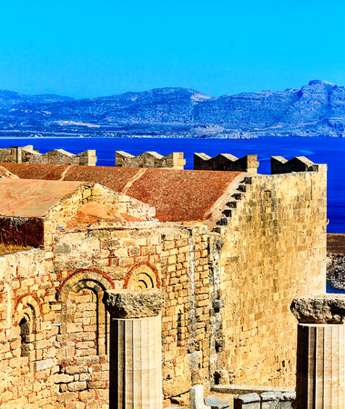 Popular tourist attraction the archeological site of the Acropolis of Lindos on the Iceland Rhodes, Greece Stock Photo