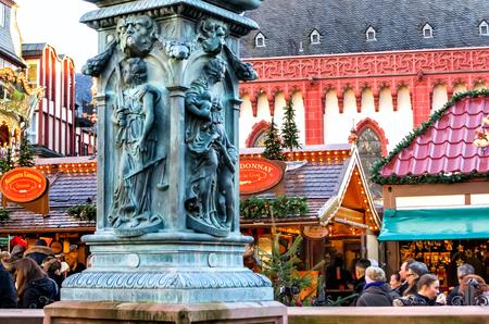 roemerberg: Christmas Market popular tourist attraction in Frankfurt, Germany