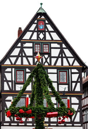 Christmas decoration in historic old German town Seligenstadt, Germany