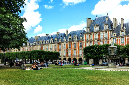 Paris- Place des Vosges, Square Louis XIII (built by Henri IV from 1605 to 1612) is the oldest and the most beautiful squares in Paris