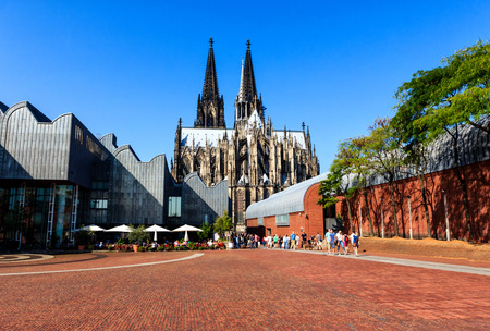 The Heinrich-Boell-Square on the banks of Rhine River in Cologne, Germany