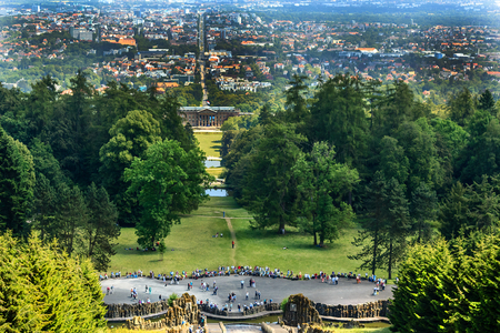 City landscape Kassel Wilhelmshoehe with Castle Park, Germany Stock fotó - 79875703