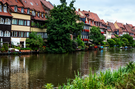 Bamberg, old fishing houses called Little Venice on the banks of the Regnitz, Germany