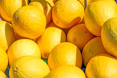 Sweet honeydew melon (Cucumis melo) fruit background