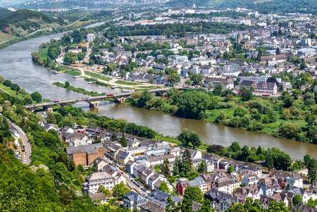 Panoramic view of Trier, the oldest German city, the favorite residence of Roman emperors in Germany. Stock Photo