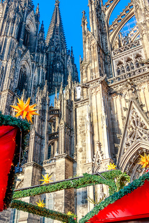Festive Christmas market in Cologne takes place in a fantastic location in front of the Cologne Cathedral, Germany