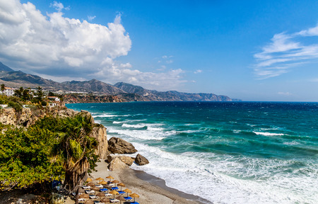 Beautiful panoramic view from balcony de europe. Cliff and landmark in Nerja, Costa del Sol, southern Spain Stok Fotoğraf