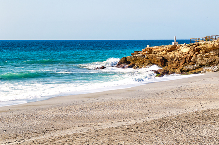 The beach of Nerja (Playa de la Torrecilla), tourist resort Malaga region, Costa del Sol, Andalucia, Spain