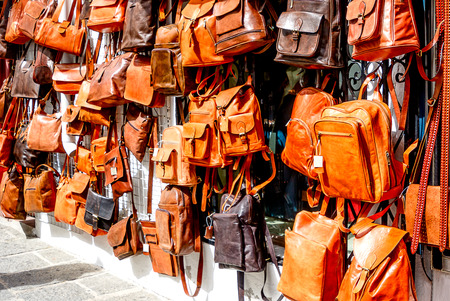 Shopping for handmade leather bags in Mijas, Andalusia, Costa del Sol, Spain