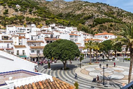 The Plaza Virgen de la Pena, the main square of Mijas Pueblo, the charming White Village of Costa del Sol, Andalucia, Spain.