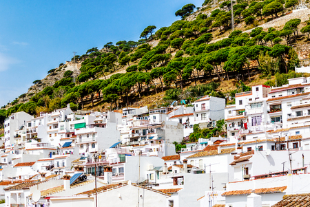 Mijas white village in Andalusian Mountains near Malaga. Mijas is one of the last places in Spain where donkeys are used for tourism. Andalusia, Costa del Sol, Spain