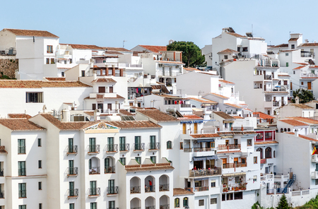 The White Mountain village of Frigiliana close to the popular town of Nerja. Frigiliana is a beautiful typical Andalusian town that still keeps its moorish structure. Province of Malaga, Costa del Sol, Spain
