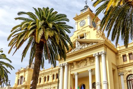 Ayuntamiento in Malaga. 19th century baroque style town hall building. Malaga Province, Costa del Sol, Andalucia, Spain Stok Fotoğraf