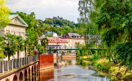 Picturesque world famous health resort on the river banks Saale - Bad Kissingen in Bavaria, Germany Stok Fotoğraf - 124867543
