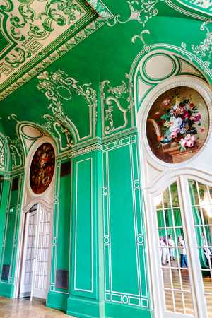 BAD KISSINGEN, GERMANY? AUGUST 23, 2018: Bad Kissingen Regentenbau - The elegant Green Hall. Picturesque world famous health resort at the romantic Franconian Saale in Bavaria. Editöryel