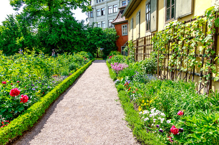 WEIMAR, GERMANY-MAY 24, 2019: Goethes Garden - The garden was used by Goethes wife, Christiane Vulpius, to provide the household with fruit and vegetables. At times, Goethe thus performed botanical experiments here. Editorial