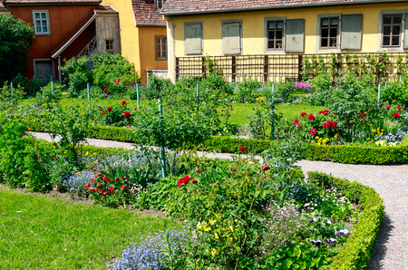 WEIMAR, GERMANY-MAY 24, 2019: Goethes Garden - The garden was used by Goethes wife to provide the household with fruit and vegetables. At times, Goethe thus performed botanical experiments here.