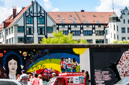BERLIN, GERMANY- JULY 27, 2018: East Side Gallery - a nearly mile-long stretch of the Berlin Wall is the authentic monument of reunification to date, and has been for over twenty years.