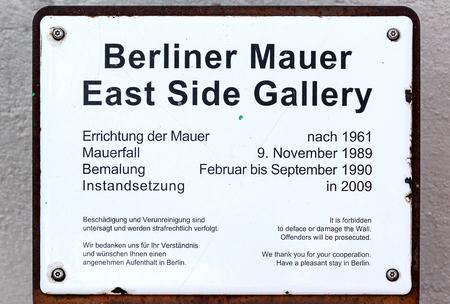 BERLIN, GERMANY- JULY 27, 2018: East Side Gallery Sign Berlin Germany Editorial