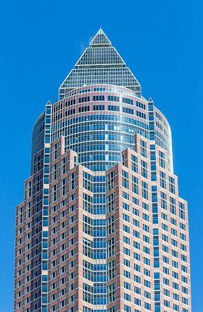Frankfurt, Germany - The Messeturm - 63-storey Trade Fair Tower called The Pencil (pencil) due to its shape. Zdjęcie Seryjne