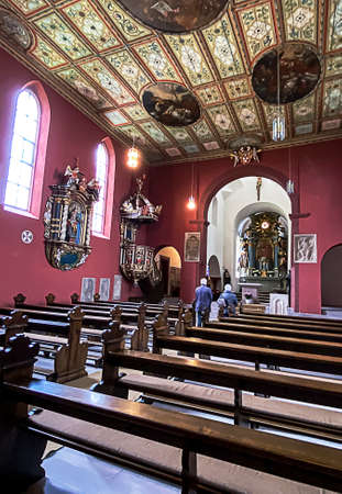 FULDA PETERSBERG, GERMANY –JUNE 07, 2020: Interior view of the medieval mountain church of St. Peter and of the Holy Sepulcher Lioba (built 836) in Petersburg near Fulda.