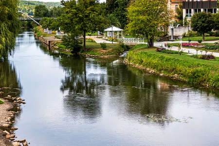Picturesque famous spa town in Bavaria on the banks of the river Saale - Bad Kissingen, Germany Editoriali