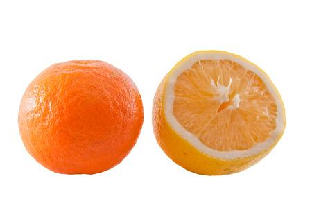 notched: Mandarin and notched lemon on a white background