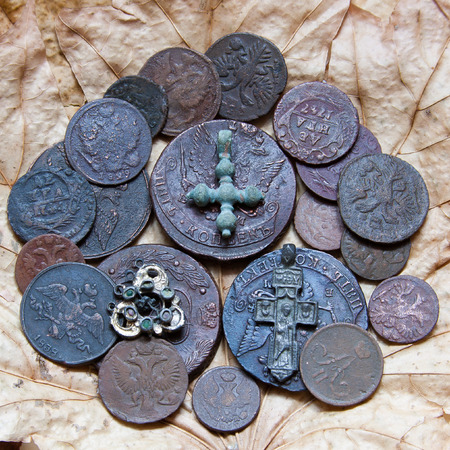 dynasty: Coins of a dynasty of tsars Romanov of 18-19 centuries. Stock Photo