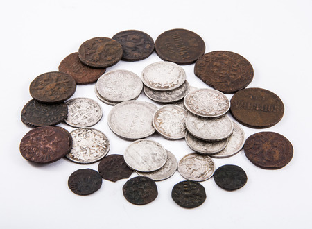 copper coin: coins of small face value from silver and copper of tsars Romanov Stock Photo