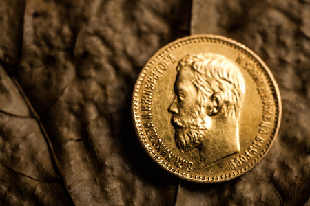 nikolay: gold coin of five rubles with a portrait of Nikolay II the last emperor of Russia