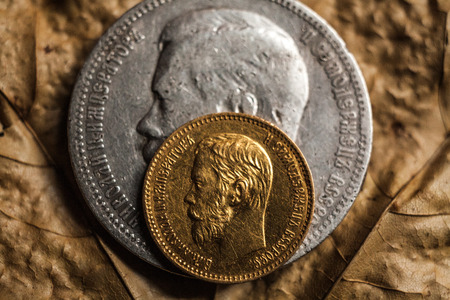 nikolay: gold and silver coin rubles with a portrait of Nikolay II the last emperor of Russia