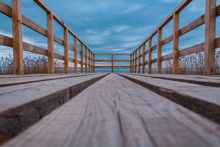 the wooden bridge in anywhere or the bridge to the middle of the river Stock Photo