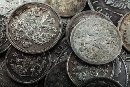 and eyelid: Silver coins of 19 and 20th eyelid of a dynasty of tsars Romanov Stock Photo