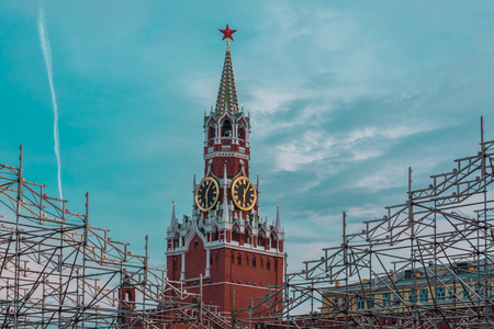 spasskaya: Spasskaya Tower against metal designs for infinite holidays